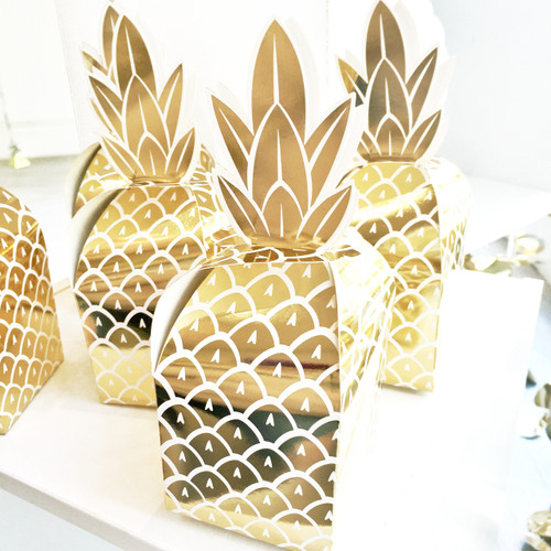 Shiny gold foil pineapple party favour boxes for goody bags and gifts