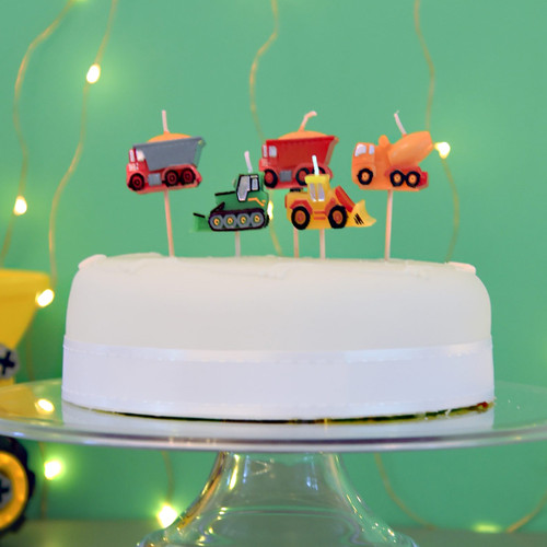 Construction Digger Candles for Bob the Builder Themed Birthday Parties and Cakes