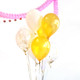 Royal wedding party balloons in gold, white and gold shimmer
