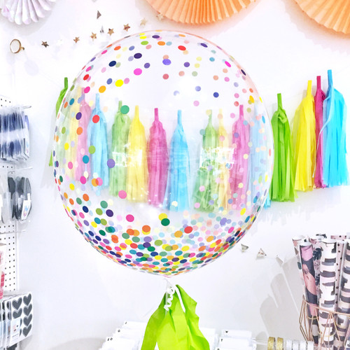 Rainbow Print Confetti Bubble Balloon for birthday parties and celebrations