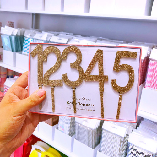 Gold Glitter Acrylic Number Cake Topper Decorations