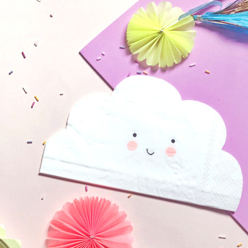 Smiling cloud paper party napkins for birthday parties, baby showers and summer celebrations