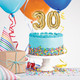 Gold 30th birthday balloon cake toppers for milestone birthday ages and parties