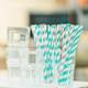 Aqua and Grey Stripe Paper Party Straws