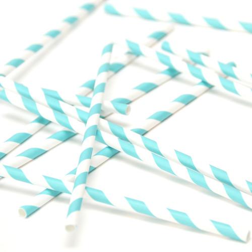 Aqua Stripe Paper Party Straws
