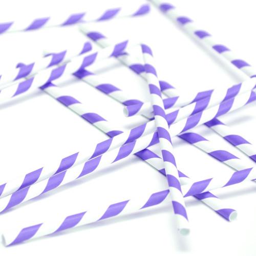 Purple Stripe Paper Party Straws