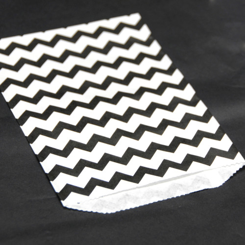 Black Chevron Print Paper Party Bags