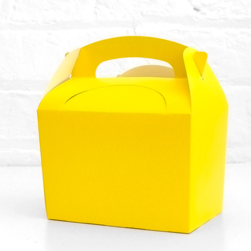Yellow food treat box for birthday party snacks, picnics, goodie bags, gifts and street food.