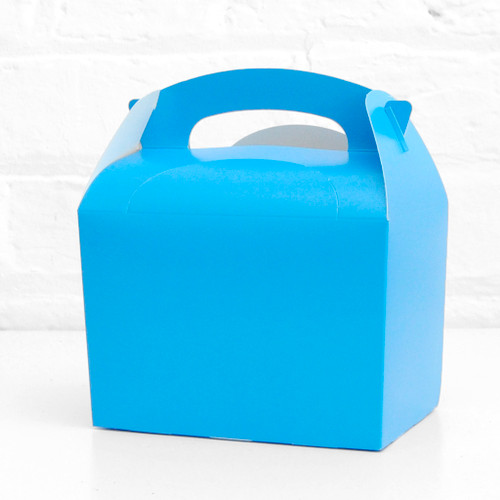 Blue food treat box for birthday party snacks, picnics, goodie bags, gifts and street food.
