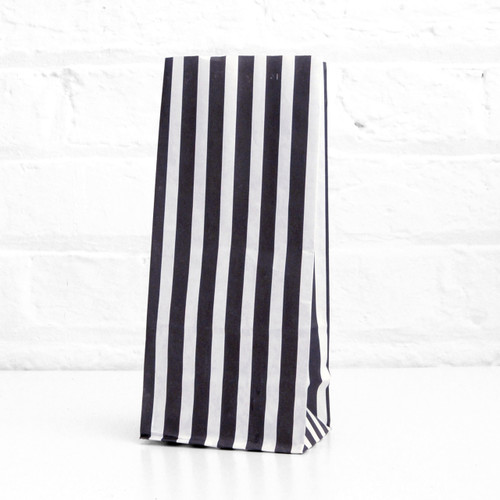 Tall black stripe paper party bags for wedding favours, sweets tables, gatsby birthday parties and gift bags.