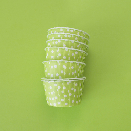 Green Polka Dot Party Serving Cups for ice cream, snacks, treats and nibbles