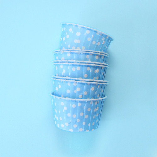 Blue Polka Dot Party Serving Cups for ice cream, snacks, treats and nibbles