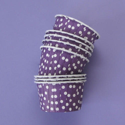 Purple Polka Dot Party Serving Cups for ice cream, snacks, treats and nibbles