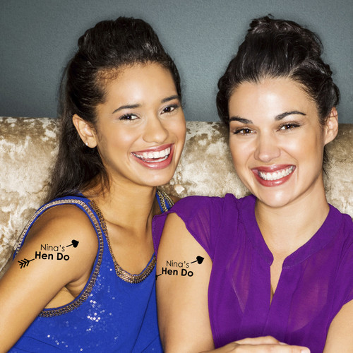 Personalised Hen Do Arrow Temporary Tattoos for Hen Parties