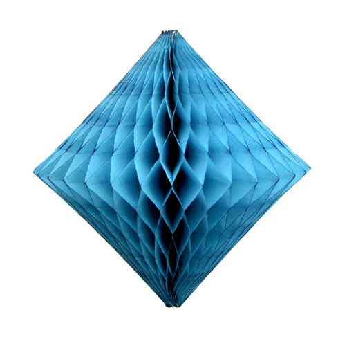 Turquoise tissue paper diamond decoration for kids birthday parties, weddings, dessert table displays and hen dos.