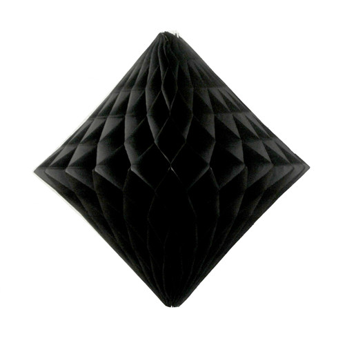 Black tissue paper diamond decoration for kids birthday parties, weddings, dessert table displays and hen dos.