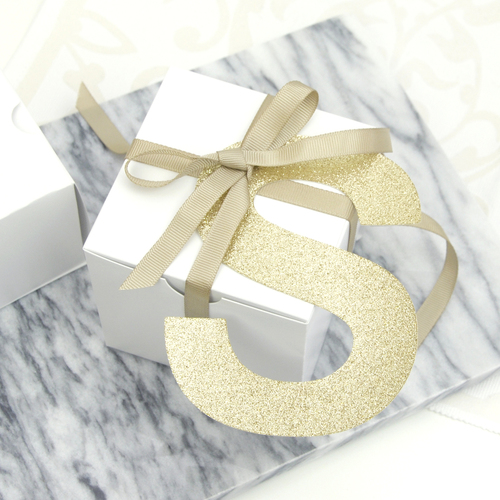 Personalised Glitter Letter Gift Tag for Finishing Touches on Christmas and birthday gifts and presents