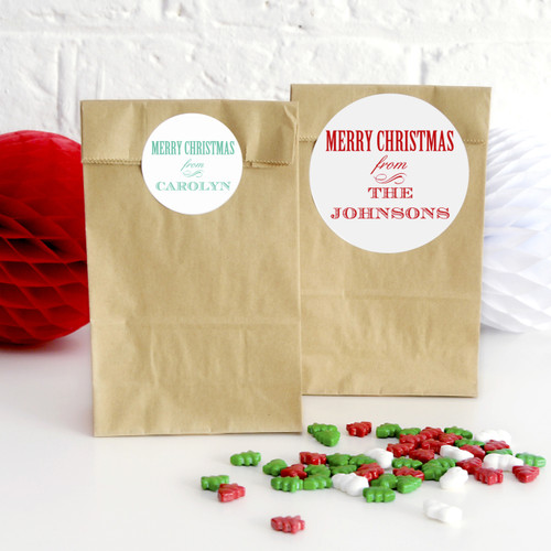 Personalised Merry Christmas Stickers for Gifts