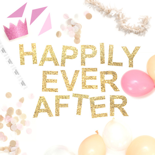 Happily Ever After Glitter Gold Garland