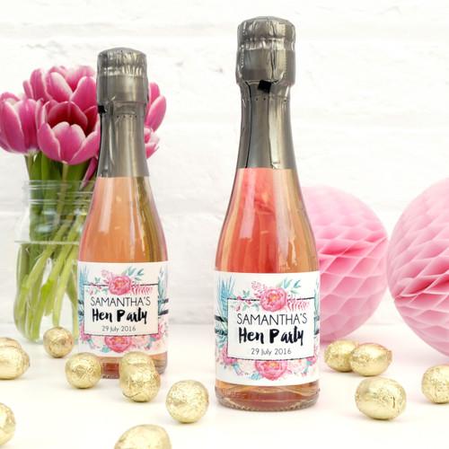Personalised Floral Hen Party Bottle Favour Labels
