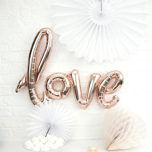 Metallic Copper Love Text Balloon