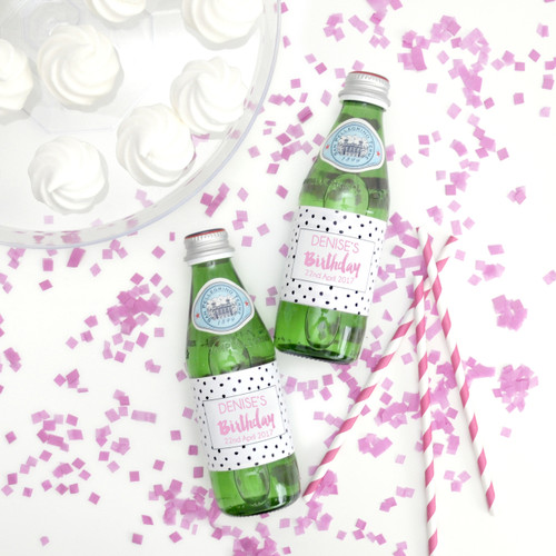 Personalised Birthday Party Polka Dot Bottle Labels