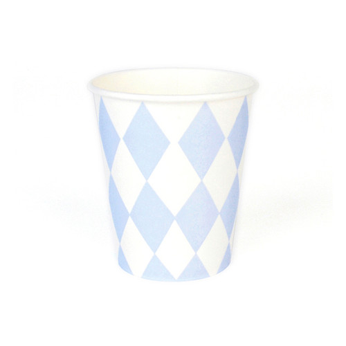 Stylish light blue diamond paper party cups for baby showers, childrens birthday parties or other special occasions.