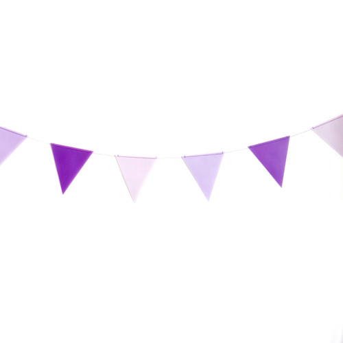 Purple paper party bunting for birthdays, weddings and garden parties