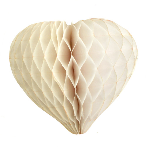 Ivory paper heart decoration for weddings and hen parties