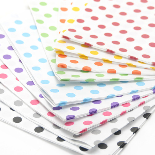 Rainbow polka dot paper party bags