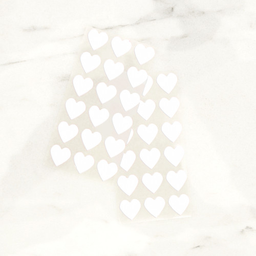 White heart stickers for wedding favours, gift wrap and craft projects