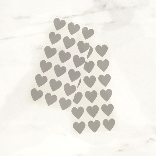 Grey heart stickers for wedding favours, gift wrap and craft projects