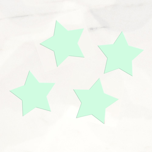 Stylish mint green star stickers for wedding favours, gift wrap labels and craft projects