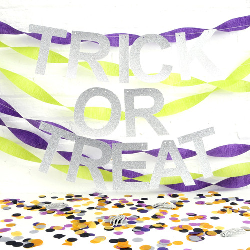 Metallic glitter trick or treat halloween party garland decoration