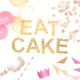 Eat Cake metallic glitter garland available in gold or silver for weddings, dessert tables or birthday parties