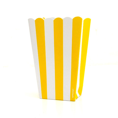 Yellow stripe popcorn boxes for carnival parties, circus wedding themes, popcorn birthday parties, movie nights or hen dos