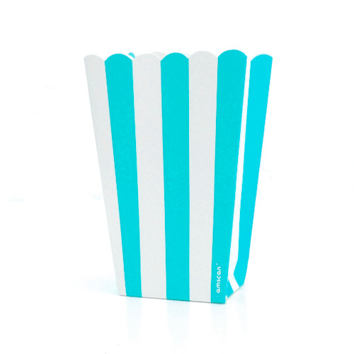 Blue stripe popcorn boxes for carnival parties, circus wedding themes, popcorn birthday parties, movie nights or hen dos