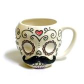 Sugarskull Moustache Mug | 2Shopper.com