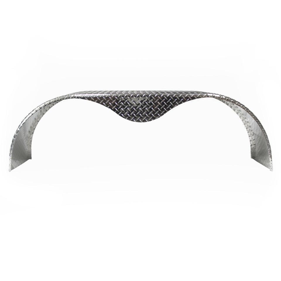 72x9 Tandem Axle Aluminum Tread Plate Trailer Fender front view