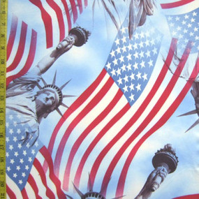 Lady liberty and american flags in collage pattern is a patriotic favorite