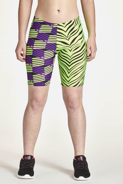 Half & Half Shorts Shown in Purple/Lime Geo - Lime Tiger Combination.