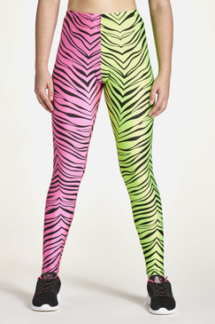 Half and half tights shown in half pink tiger and half lime tiger