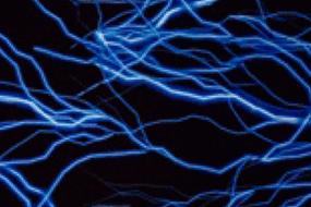 Black fabric with bright blue lightning.