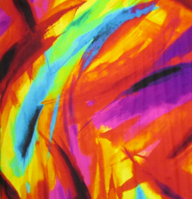 A bright fabric that mimics paint brush strokes in a multitude of colors.