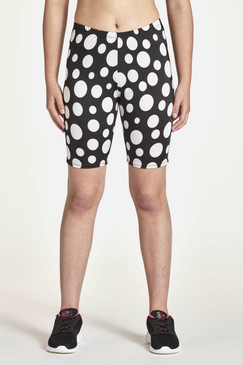"8"" Shorts Front View Shown in Black & White Dot"