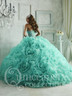 Quinceanera dress with ruffles.