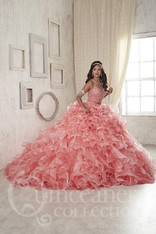 Coral/Pink Quinceanera dress.