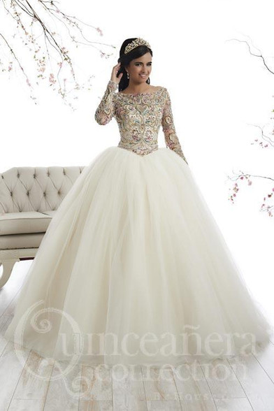 Champagne Multi/Ivory Quinceanera Dress.