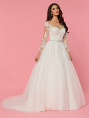 The sheer bodice of this wedding dress creates the illusion of a bateau neckline over a unique off-the-shoulder long sleeve look. The sweetheart neckline is embellished with glossy flower, vine, and leaf embroidery.