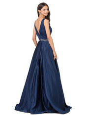 V-neck, navy, prom dress.